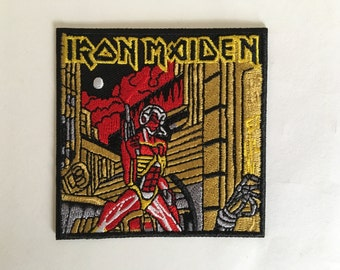 """Iron Maiden Somewhere in Time iron on embroidered patch aprox. 3"""" x 3"""""""