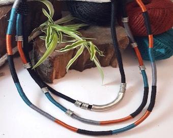 Bohemian fashion necklace,  Boho necklace, Colorful necklace, Unique necklaces for women, Rope statement necklace,