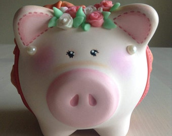 Hand-painted, Hand-crafted coral princess piggy bank