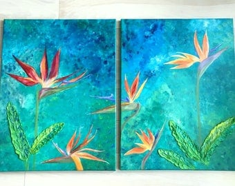 Bird of paradise acrylic painting a set of 2