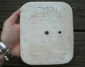 Edison Primary Battery Ceramic Cover, 1911, Thomas Edison, Antique Electrical