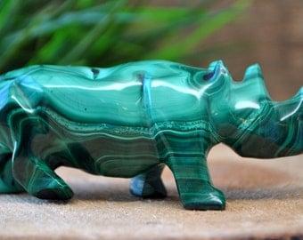 Malachite Crystal Rhino Sculpture - Stone Animal Figurine-  1220.59