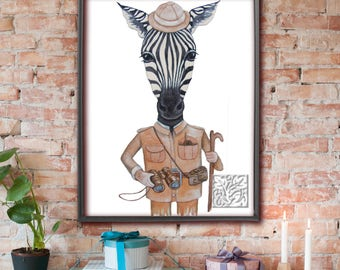 Zebra Print Art painting with Safari hat & Camera, Print Poster Unique and Original 8 x 10 and 12 x 16 inch