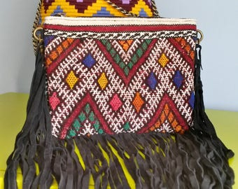 Kilim with fringes leather clutch bag - handmade