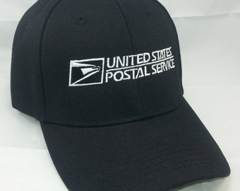 USPS Embroidered Baseball Cap2 / Color: BLACK w/ White Embroidery Adjustable Velcro OSFM / United States Postal Service