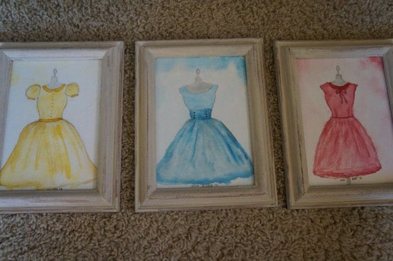 Original Hand Painted Watercolor Dresses Set of 3 Framed 5x7
