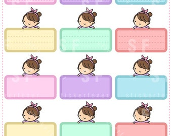 Color Boxes Kawaii Chibi Character Planner Stickers for Erin Condren, Happy Planner, Passion Planner, Plum Planner... (#59)