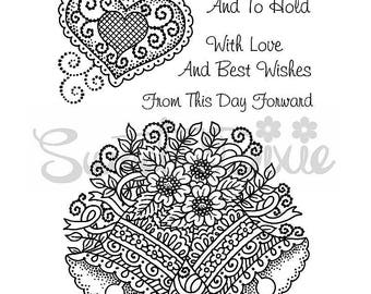 Wedding Bells With Love Clear Stamp Set - 4 clear stamps - Sweet Dixie Wedding Collection Clear Stamp