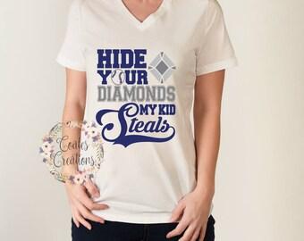 Mom Baseball Tee//My Kid Steals//baseball humor//hide your diamonds//white v neck