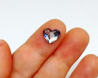 10mm Swarovski Heart Rhinestone, Flat Back, Crystal Clear, Hotfix Rhinestone, Faceted Heart, Foil Back, Loose Rhinestones, Diy, YC8043A