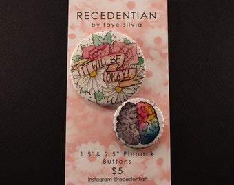 It Will Be Okay & Creative Brain Pin Pack!