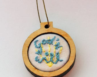 "God's Will Embroidery Hoop Necklace - 1"" - Catholic/Christian"