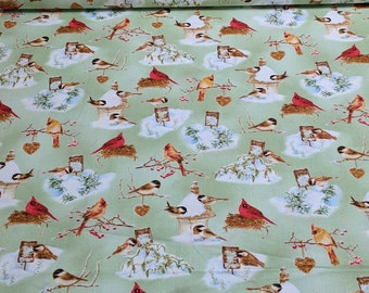 A Winter Song-Birds on Green Cotton Fabric from Henry Glass