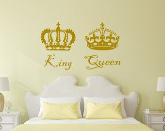 King And Queen Crown Wall Decor queen wall decal | etsy