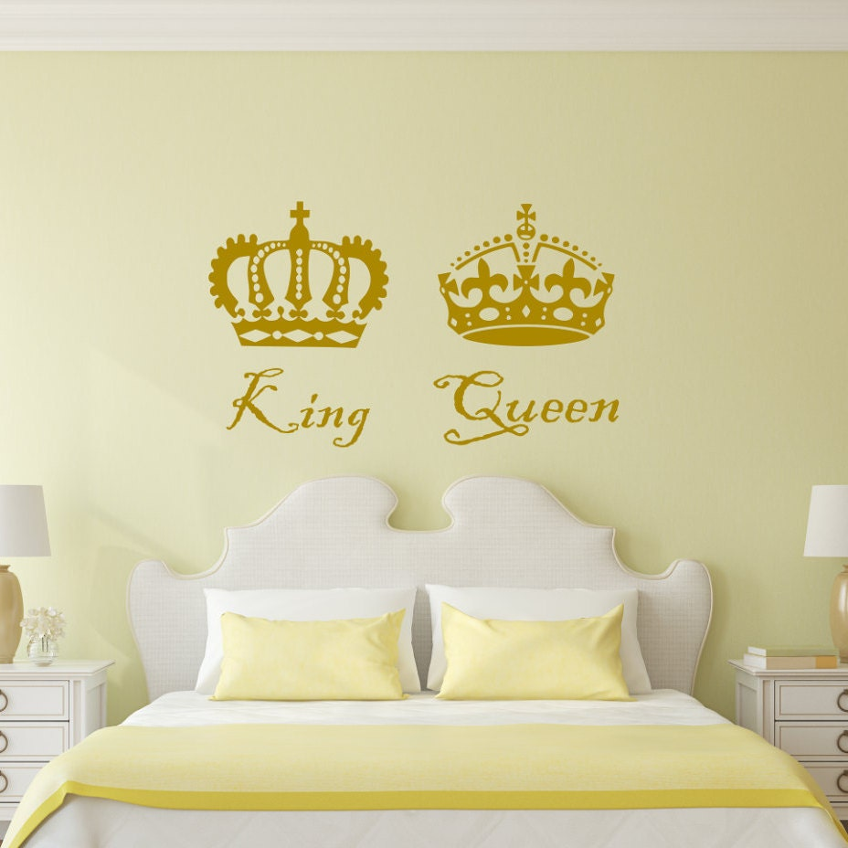 King And Queen Decal Two Crowns Romantic Wall Art King And