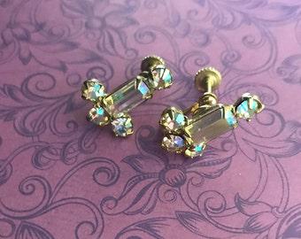 Vintage Aurora Borealis Earrings, Screw Back