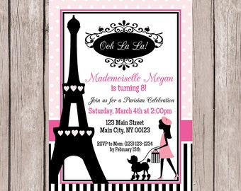 Paris Birthday Party Invitation, Paris Themed Birthday Party Invitation-Digital