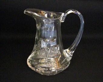 Vintage crystal water jug-Bohemian-Star cut-pitcher