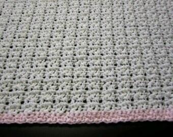 Baby Blanket/Crochet Baby Blanket/White Baby Blanket/Pink Baby Blanket/White Crochet Baby Blanket/Crib Blanket/Receiving Blanket