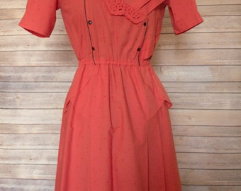 Red Tea Dress | Vintage Tea Dress | Tea Length Dress | Tea Dress with Sleeves | Mid-length Dress | Summer Dress | Romantic Dress | Size XS