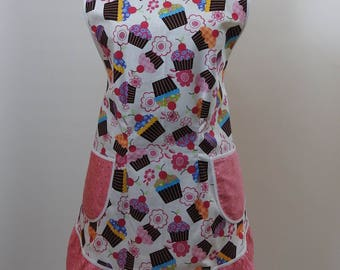 Vintage Style Apron-Cupcake Theme with Pink Sprinkles Accent-Full Coverage-Figure Flattering Design-Ruffled-Lined Pockets-White Trim