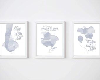 Dumbo, Set of 3, PRINTABLE, Disney quotes, Disney prints, Baby of mine, Disney wall art, Boys nursery art, Baby nursery art, Baby room ideas