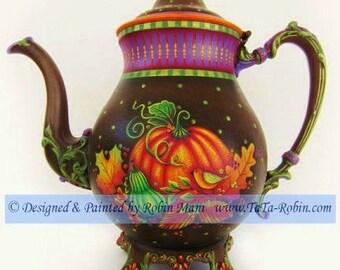 328E-PACKET Autumn Tea With Friends - Decorative Painting Pattern, Digital - Instance Download PDF - Autumn Design-Thanksgiving-Teapot-DIY