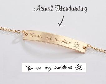 Custom Handwriting Bracelet-Actual Handwriting Bar-Memorial Signature-Kids Handwritten Note-Personalized Both Sides-Gold-Rose-Silver-CG250B