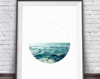 Ocean Print • Ocean Decor Circle Print Ocean Art Ocean Wall Art Ocean Poster Ocean Photography Printable Wall Art Horizon Print