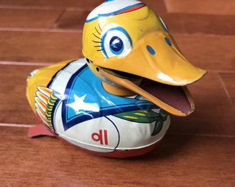 Vintage Tin Toy Duck, Litho Duck, made in Japan, Sailor Duck Friction Toy, toy collector gift