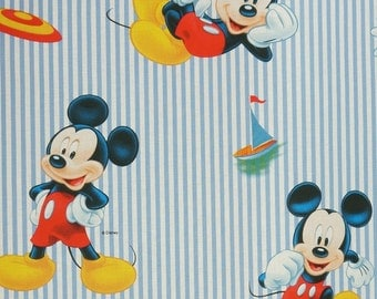 Cotton fabric Mickey Mouse on blue-and-white stripes - Disney license software