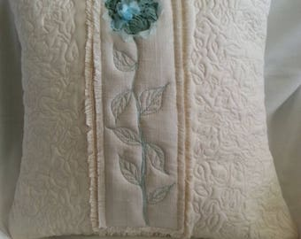 Handmade quilted pillow cover, throw pillow cover,