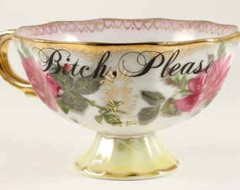 B*TCH, PLEASE Vintage Fan Crest Lusterware Footed Pedestal 5 oz Teacup, pink/gold/rose     CUSTOMIZABLE