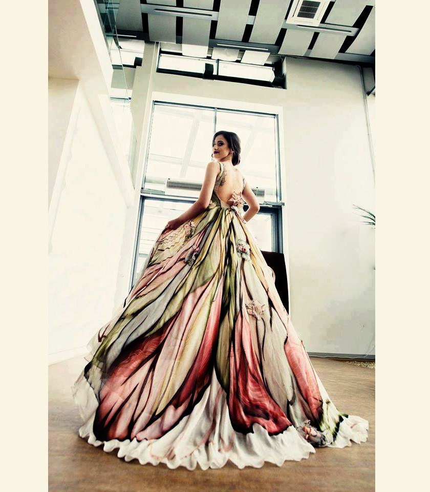 Long mother of the bride dress hand painted silk dress for Prom dresses that look like wedding dresses