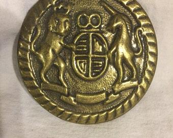 British Coat of Arms Gold Metal Decorative Piece--Buckle--Barrette  (#141)