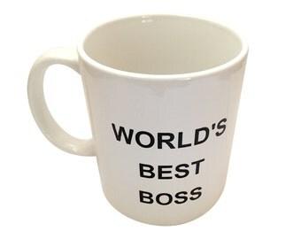 World's Best Boss Mug From The Office Michael Scott Coffee Cup Tea TV Show Costume Dunder Mifflin Paper Company Work World Gift 11 oz White