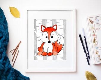 Fox Woodland Animal Nursery Print