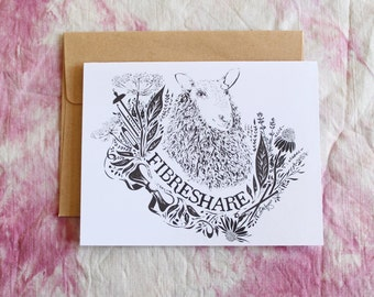 Floral FibreShare Notecard | FibreShare Card | Sheep Card