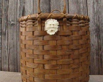 Handmade Reed Basket With 2 Carved Antler Spirit Faces, Oak Handled Field Basket,OOAK