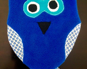 Baby Tag Toy; taggy toy; taggie toy; sensory toy; infant toy; baby gift; blue; owls; ribbons; handmade; baby shower; newborn; snuggle toy