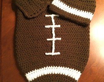 Crochet Baby Football Photo Prop with Hat, Cocoon, Baby Gift