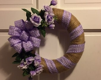 Summer Wreath, Country Straw Wreath w/Jute Twine, Lavender Roses, Lavender Gingham Ribbon, Summer Wreaths for Front Door, 12 Inch