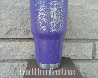 Monogram Mandala Glitter 30 oz Stainless Steel Tumbler- Purple- Personalized