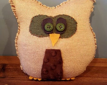 Tan Sweater Owl, Upcycled, Recycled