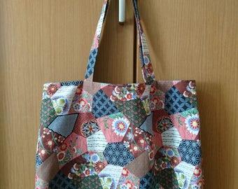 Japanese Tote Bag - Floral Patchwork - Traditional Design