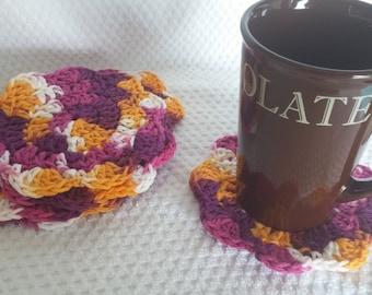 Crochet Flower Coaster Sets