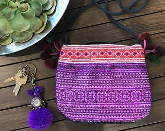 Pom Pom Bag. Beach Bag. Travel Bag. Hmong Bag. Bohemian bags. Boho Bag. Crossbody Bag. Leather Bag. Summer Bag. Crossbody Pom Bag.