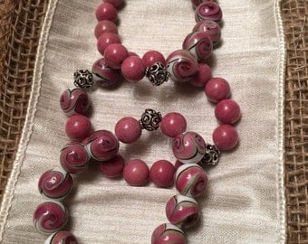 3 Pink Swirl Glass and Beautiful Piink Rhondite Stacked Beaded Bracelets