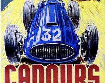Vintage 1952 Cadours France Motor Racing Poster A3 Print