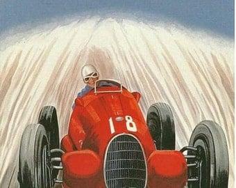 Vintage 1938 Monza Italian Grand Prix Motor Racing Poster  A3 Print